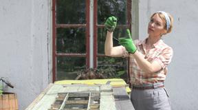 Erika Åberg. Fönsterrestaurering. Foto: Erika Åberg